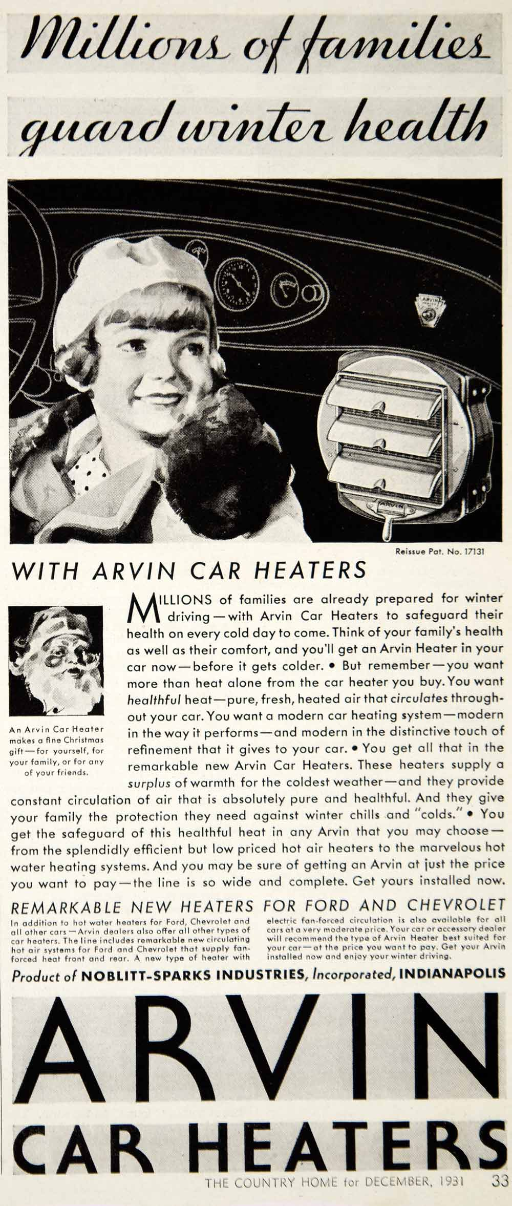 1931 Ad Noblitt-Sparks Arvin Car Heaters Auto Parts Santa Claus Christmas YCT1