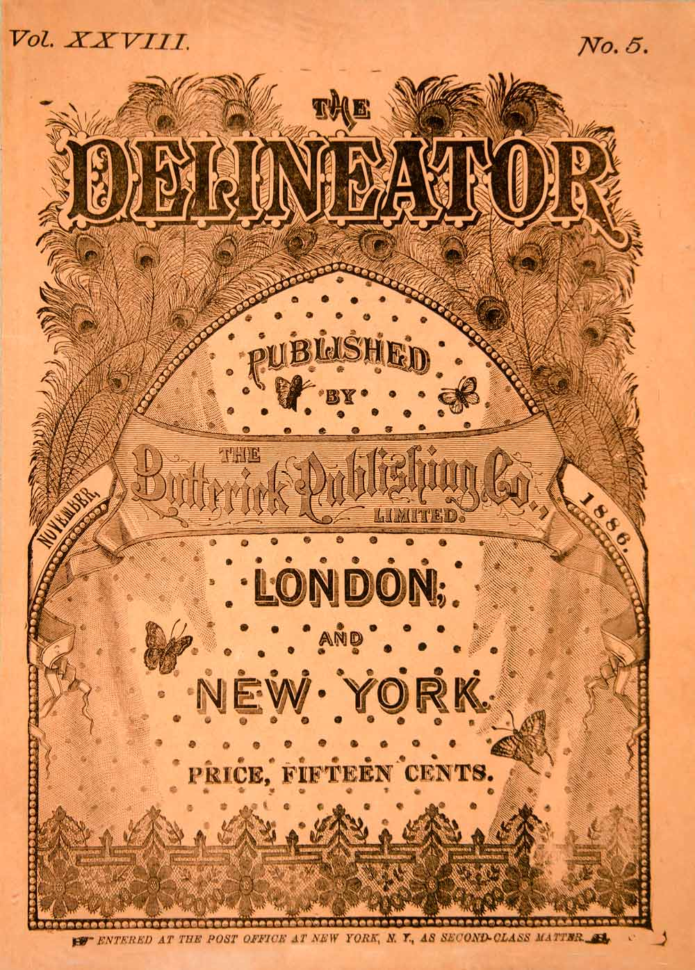 1886 Cover November Issue Delineator Butterick Publish London New York YDL1