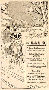 1898 Ad Columbia Chain Wheels Bicycle Hartford Vedette Winter Pope YDL1