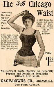 1898 Ad Gage Down Company Chicago Waist Corset Fashion Women Lingerie YDL1