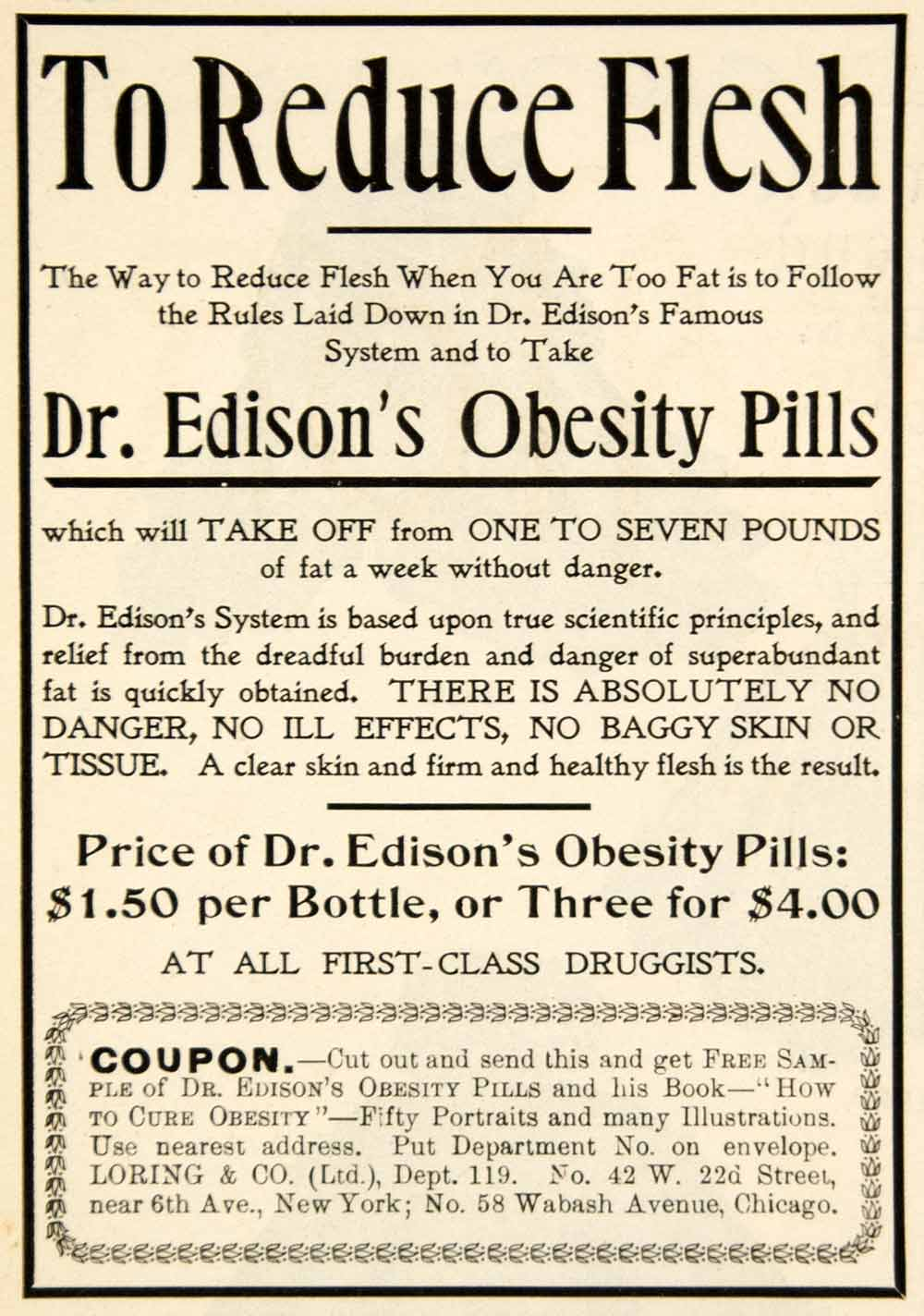1898 Ad Doctor Edison Obesity Pills Reduce Flesh Weight Loss Health Beauty YDL1