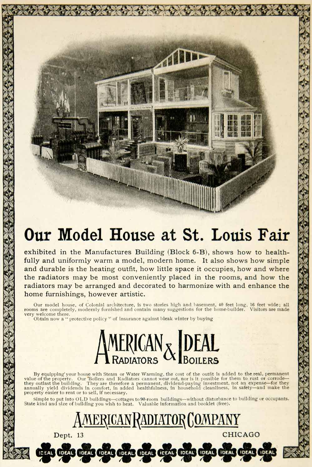 1904 Ad American Radiators Ideal Boilers Model Home Chicago Architecture YDL1