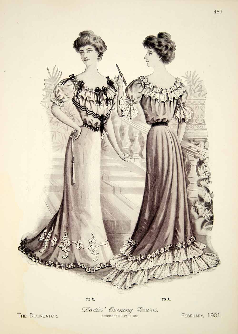 1901 Print Edwardian Ladies Evening Gown Dress Costume Clothing Fashion YDL1