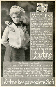 1905 Ad Pearline Soap Laundry Woolens Flannels Detergent James Pyles YDL2