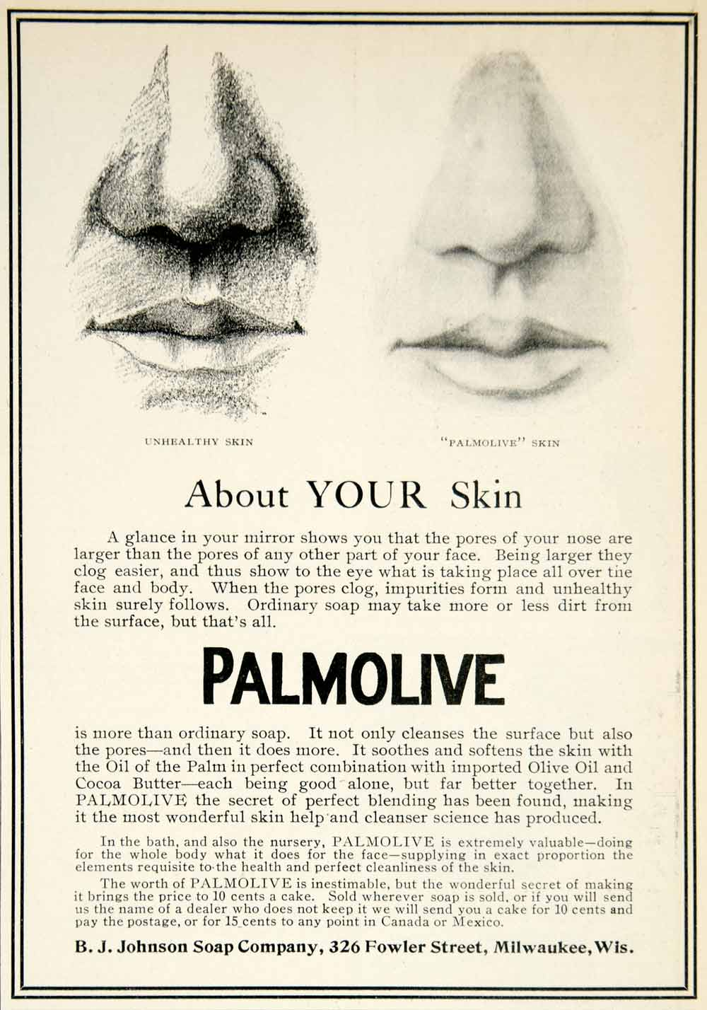1905 Ad Palmolive BJ Johnson Soap 326 Fowler St Milwaukee Wisconsin Health YDL2