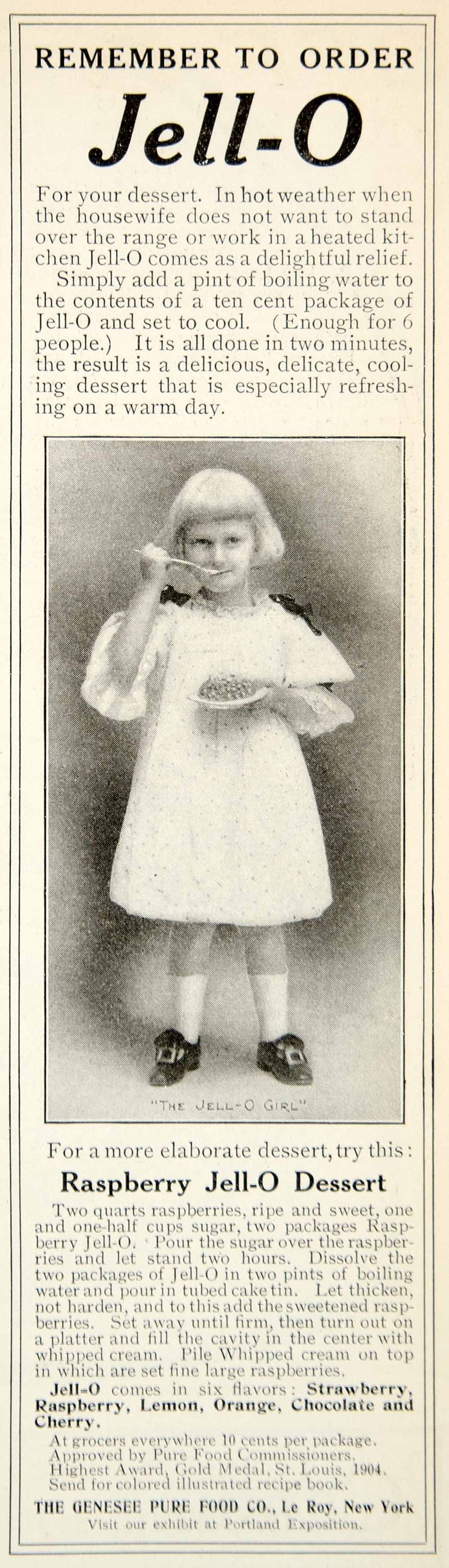 1905 Ad Raspberry Jell-O Gelatin Dessert Genesee Pure Food Le Roy New York YDL2