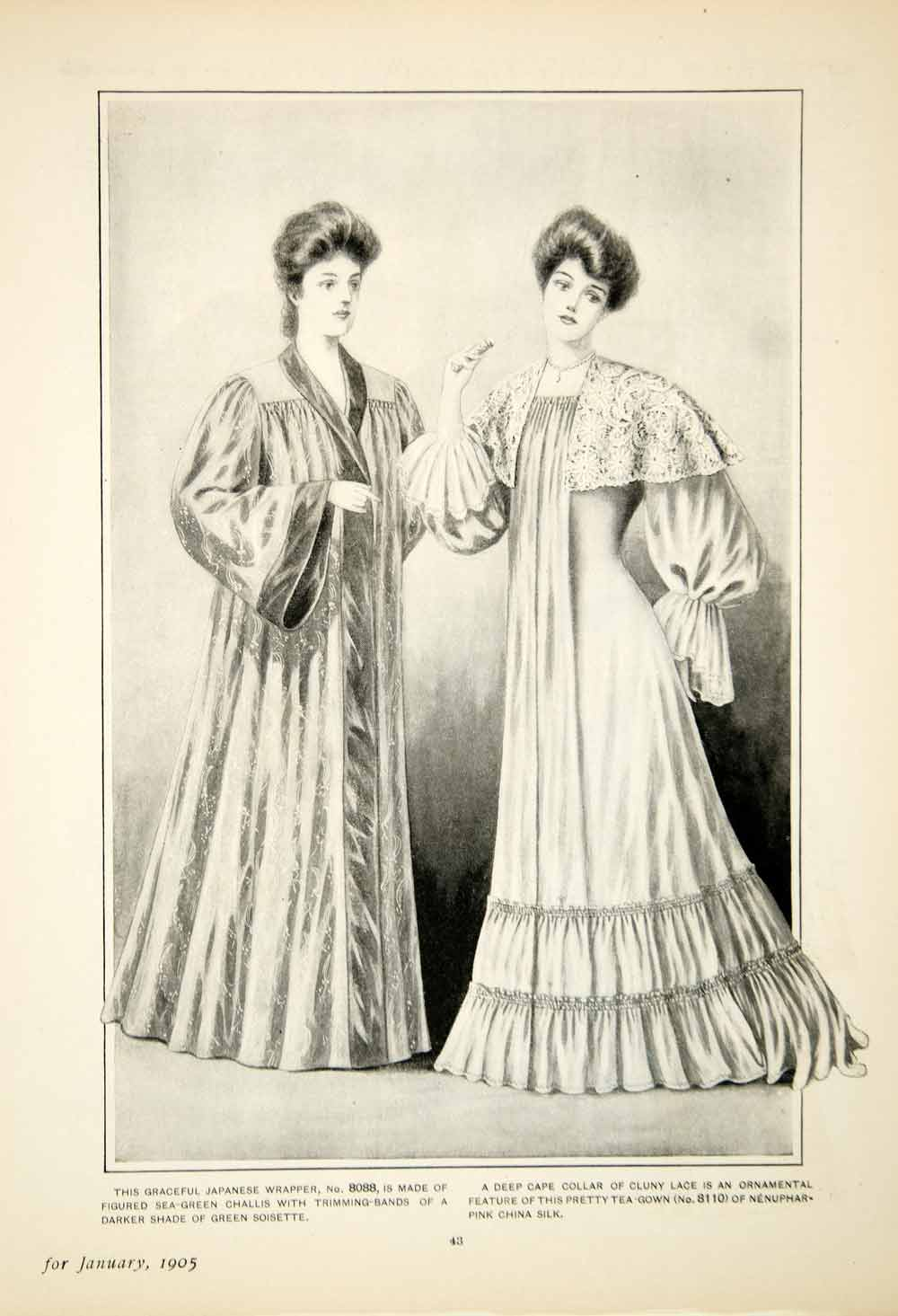 1905 Print Delineator Female Style Clothing Art Japanese Wrapper Tea Gown YDL2
