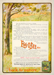 1906 Ad EggOSee Breakfast Cereal 418 Front St Quincy Illinois Food Meal YDL3