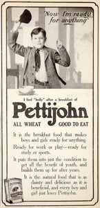 1906 Ad Pettijohn Breakfast Cereal Boy Food Porridge Bully Grocery Meal YDL3