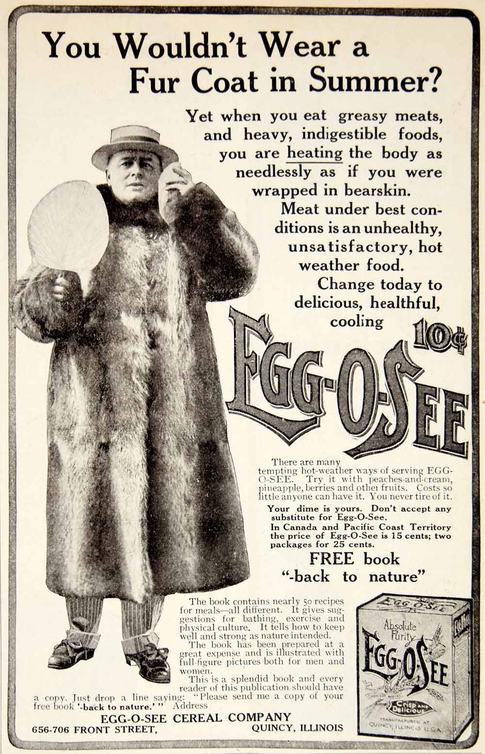 1906 Ad EggOSee Breakfast Cereal 656 706 Front St Quincy IL Fur Coat Food YDL3