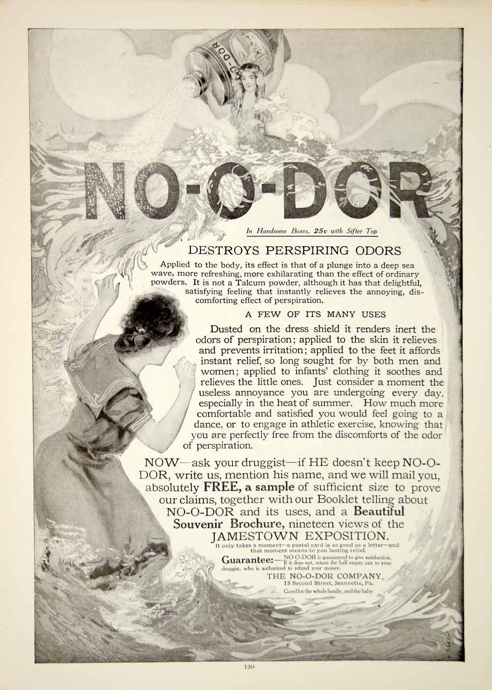 1907 Ad No O Dor Talcum Powder Wave Victorian Women Health Beauty Nautical YDL4