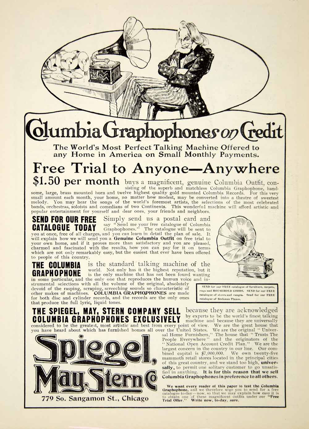 1907 Ad Columbia Graphophone Credit Spiegel May Stern Company Music Play YDL4