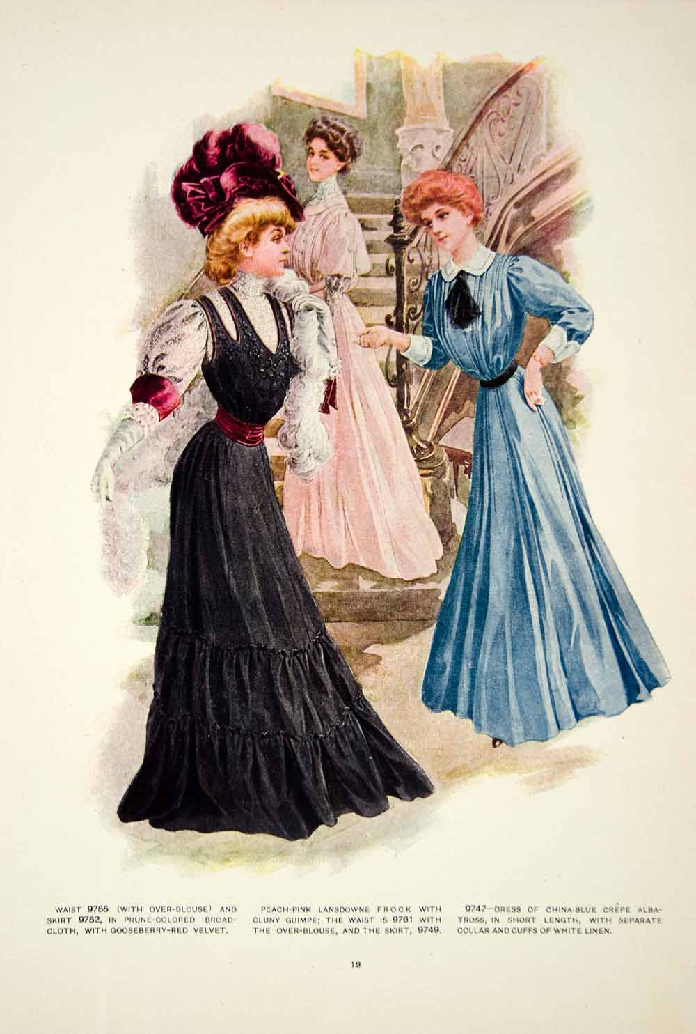 1907 Color Print Clothing Fashion Costume Clothing Edwardian Staircase YDL4