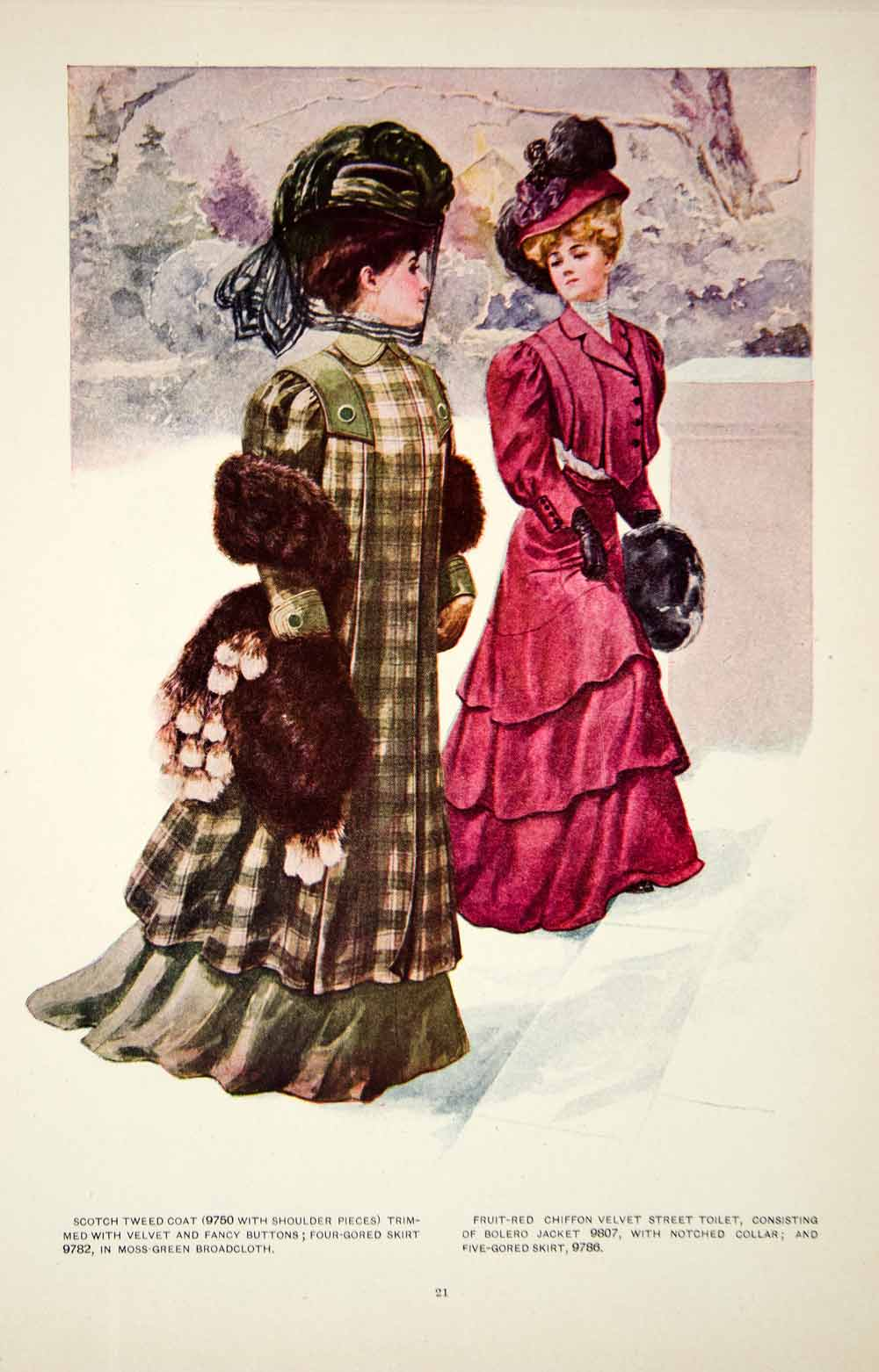 1907 Color Print Fashion Costume Clothing Dress Edwardian Women Hat Winter YDL4