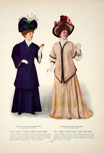 1907 Color Print Edwardian Women Fashion Costume Clothing Dress Blue Hats YDL4