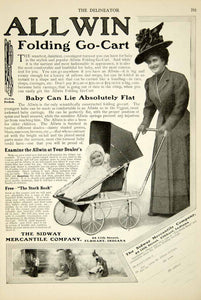 1908 Ad Allwin Folding Go Cart Baby Stroller Carriage Edwardian Woman YDL5