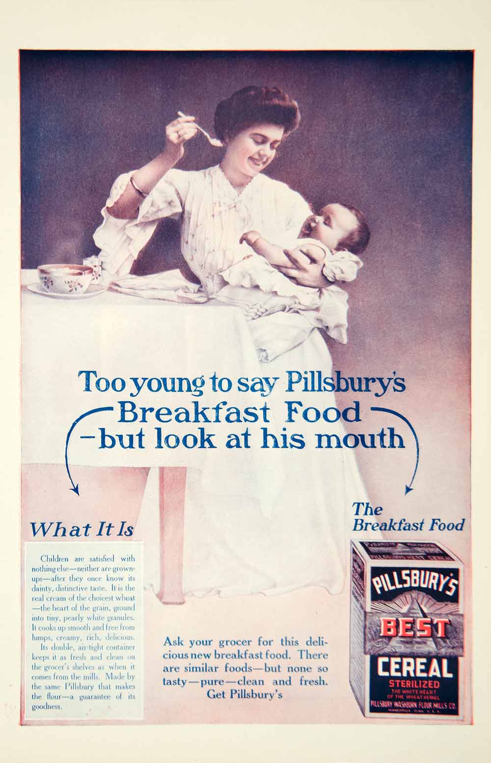 1908 Ad Baby Infant Pillsbury Best Cereal Food Feed Mother Child Edwardian YDL5