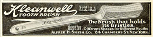 1908 Ad Kleanwell Toothbrush Alfred H. Smith Company Dental Care Oral YDL5