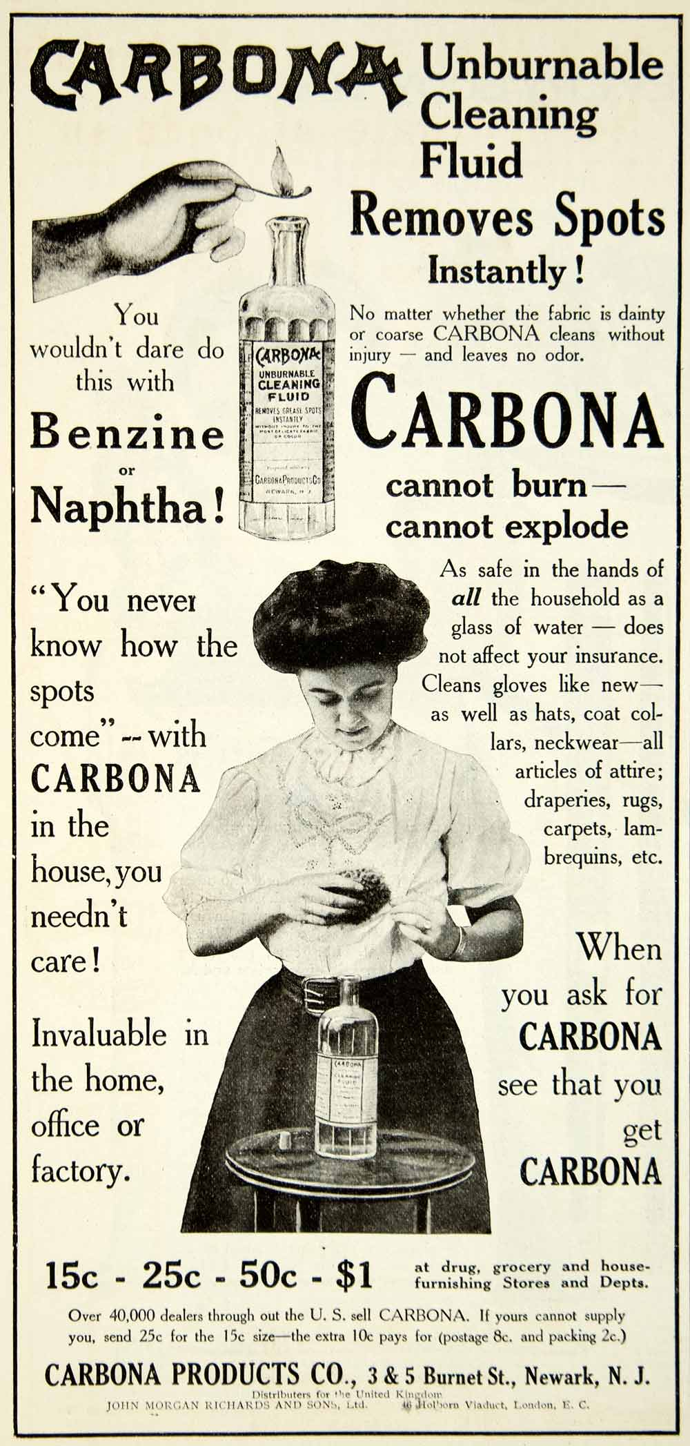 1908 Ad Carbona Cleaning Fluid Edwardian Woman Newark New Jersey Household YDL5