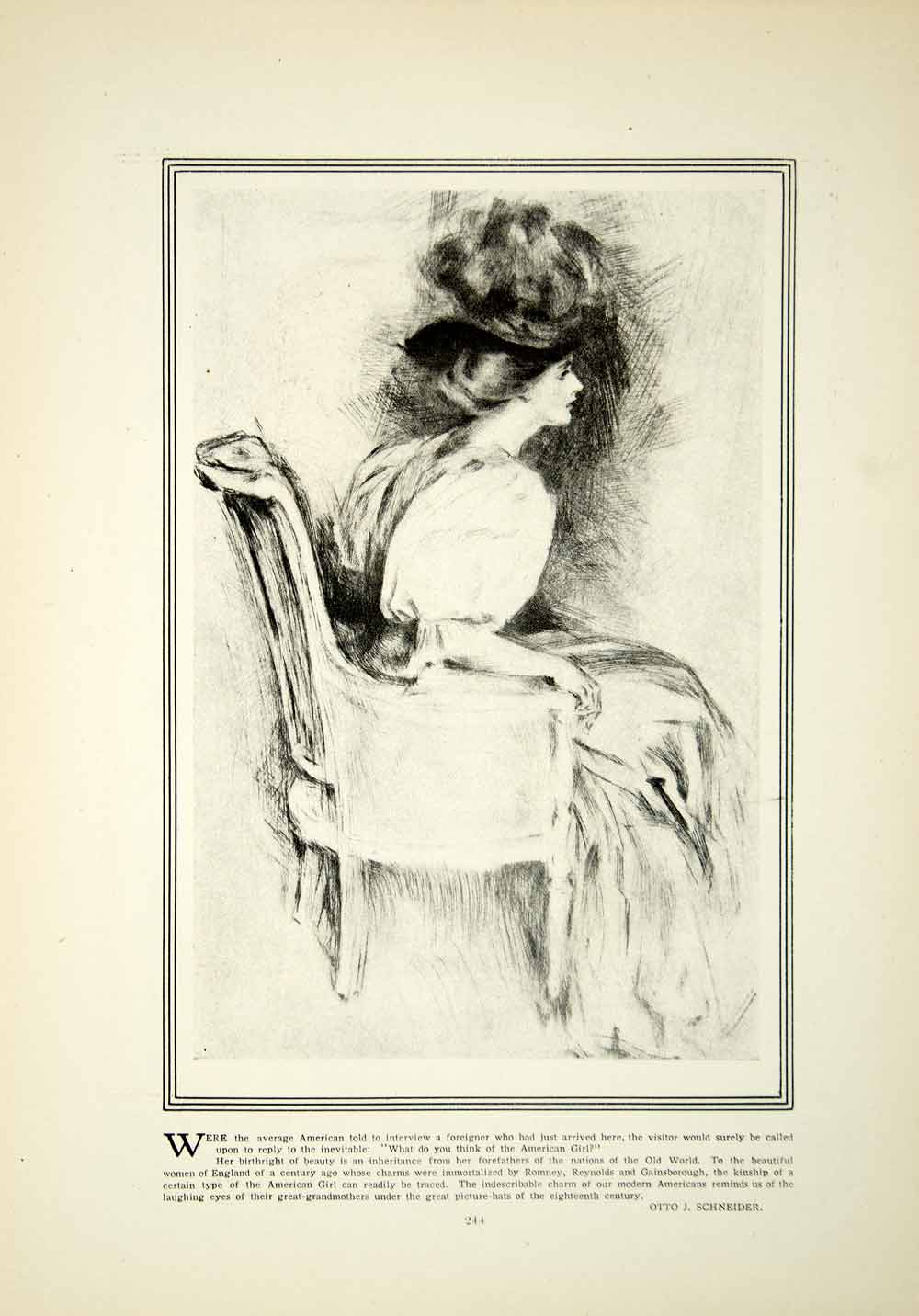 1908 Print Edwardian Woman Seated Posed Chair Hat Plume Otto J Schneider YDL5