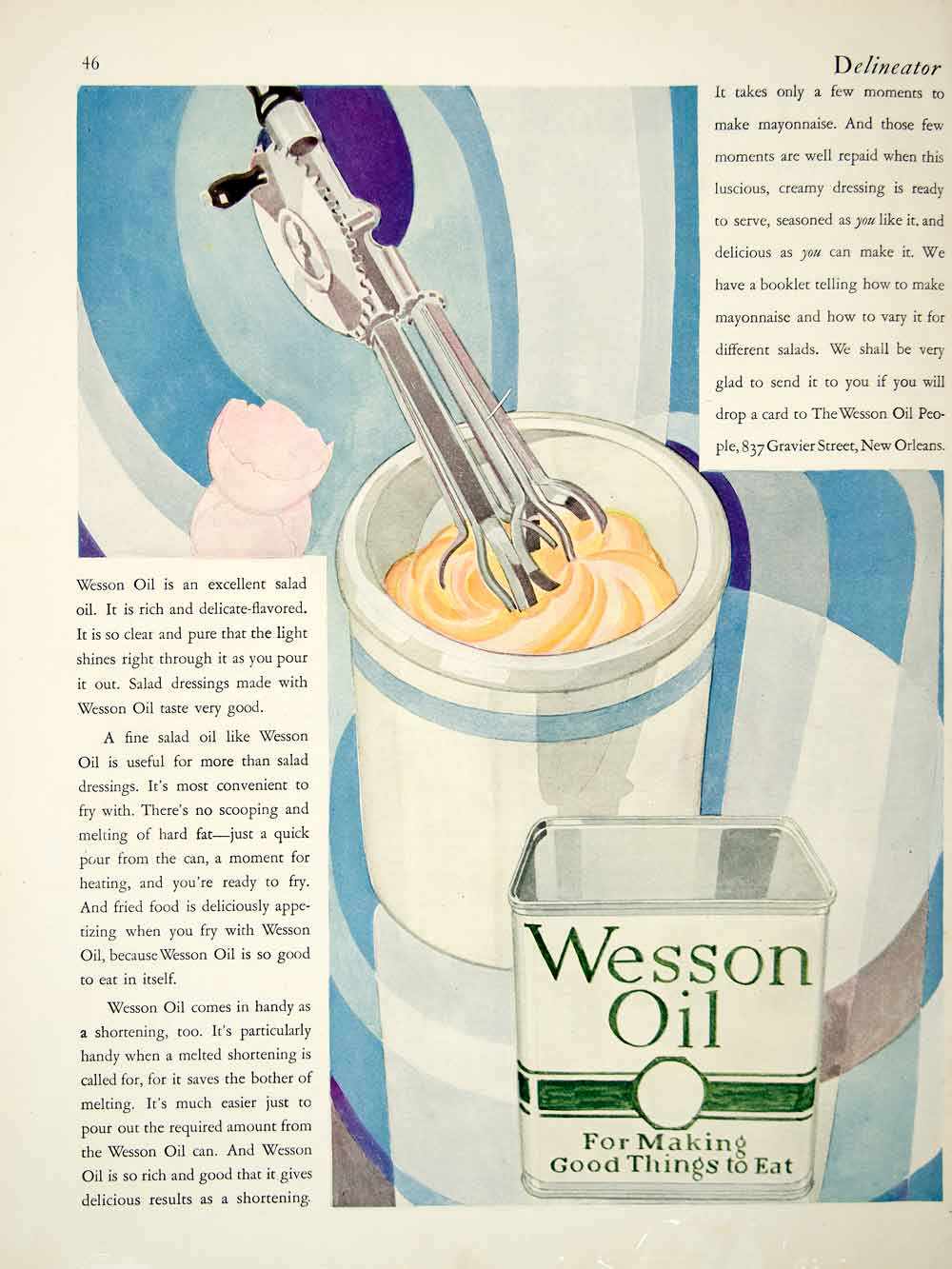1927 Ad Wesson Oil 837 Gravier St New Orleans Louisiana Salad Dressing Food YDL6