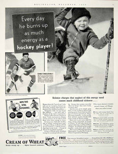 1934 Ad Hockey Player Cream Wheat Breakfast Cereal Porridge Child YDL6