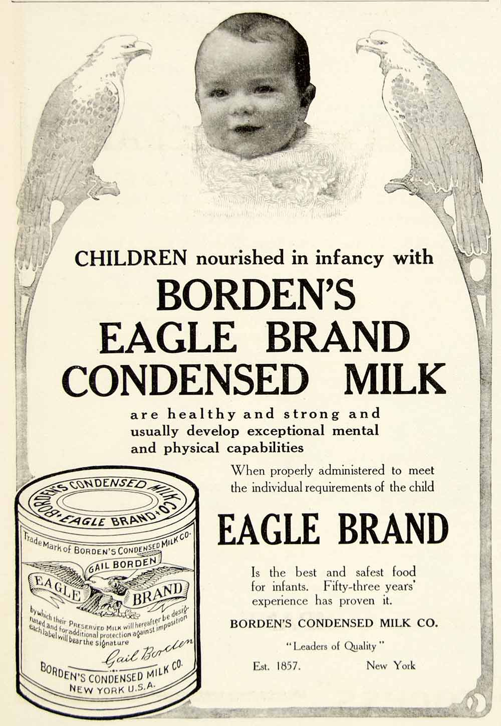 1910 Ad Borden Condensed Eagle Brand Milk Dairy Baby New York Food Grocery YDL6