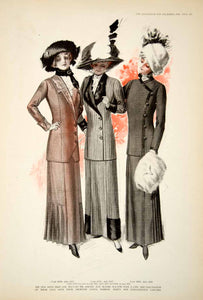1910 Print Women Suit Fashion 1910's Hat Collar Jacket Skirt Muff Clothing YDL6