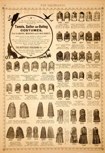 1890 Ad Tennis Sailor Outing Costume Clothing Fashion Ladies Children YDL7
