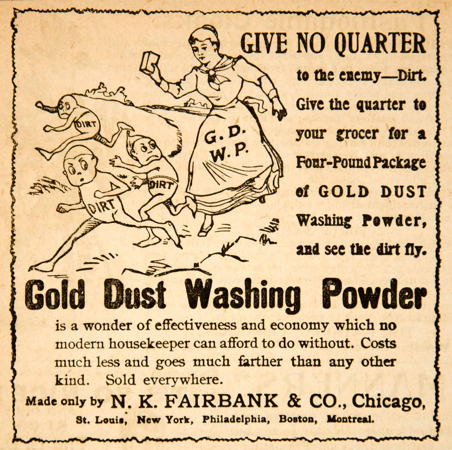 1893 Ad N K Fairbank Company Gold Dust Washing Powder Clean Household YDL7