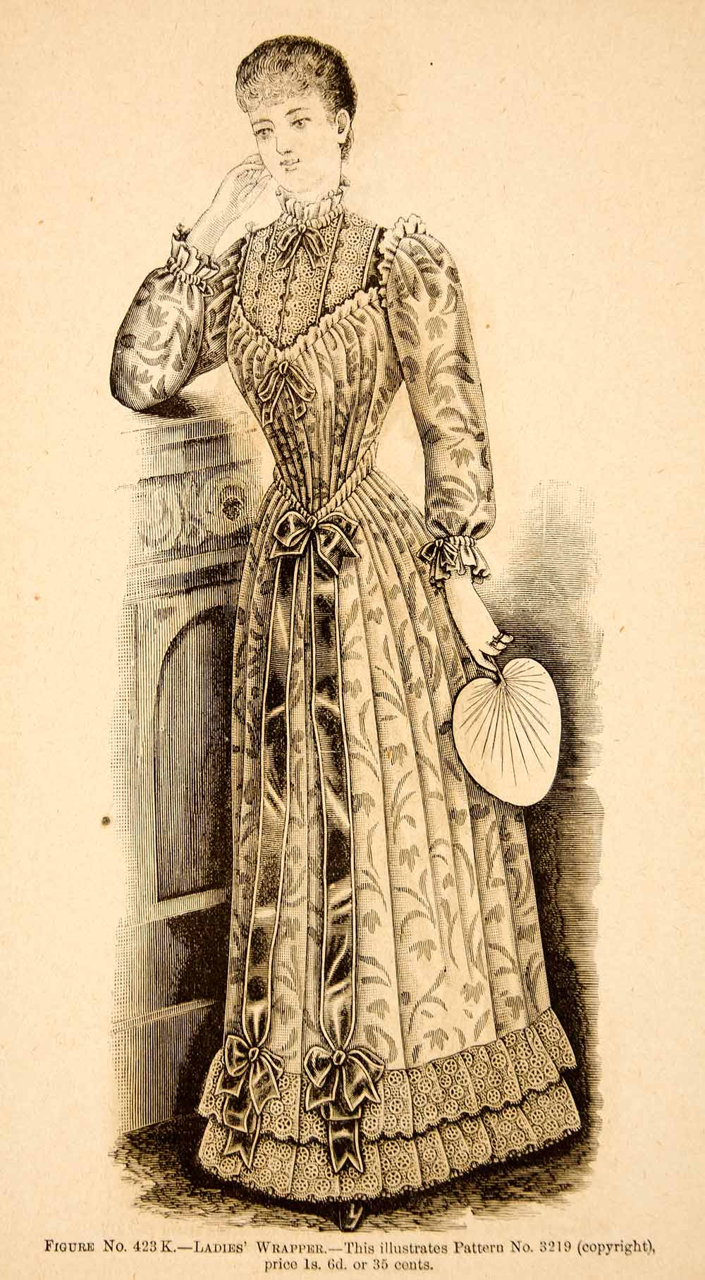 1890 Wood Engraving Fashion Costume Clothing Dress Victorian Wrapper Woman YDL7