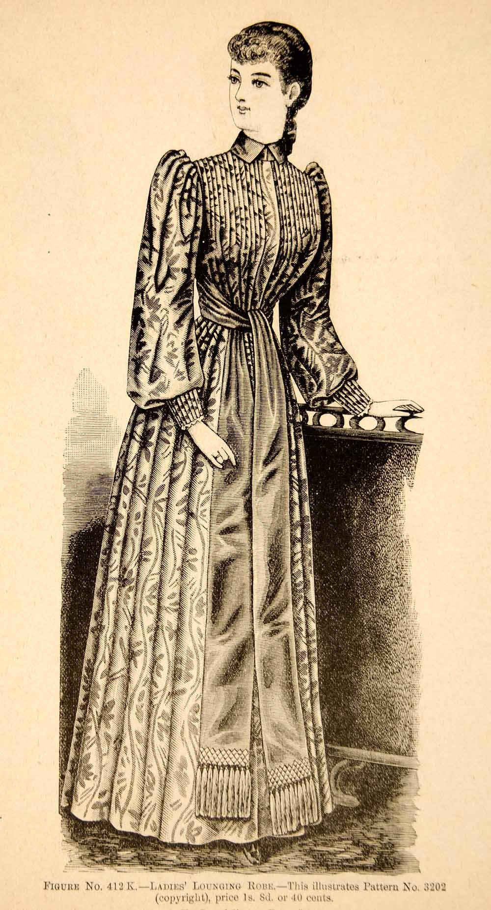 1890 Wood Engraving Fashion Victorian Woman Portrait Costume Clothing Dress YDL7