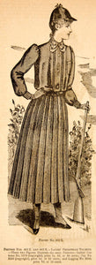 1890 Wood Engraving Woman Victorian Fashion Costume Pedestrian Toilette YDL7