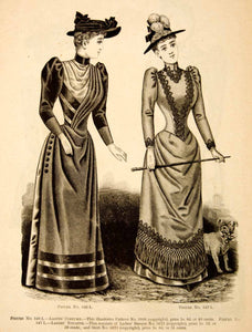 1890 Wood Engraving Fashion Costume Clothing Dress Victorian Women Hat YDL7