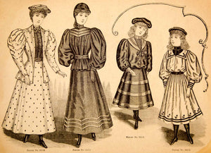 1894 Wood Engraving Fashion Victorian Women Children Dress Clothing Costume YDL7
