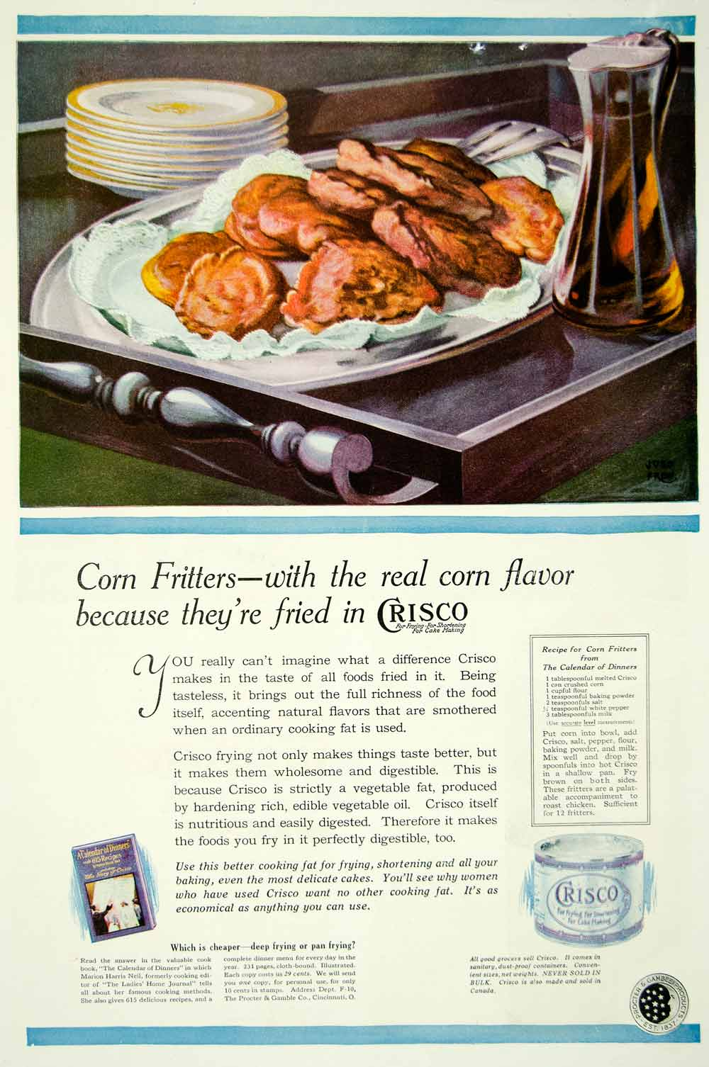 1920 Ad Corn Fritters Crisco Cooking Fat Vegetable Tray Frying Fried Foods YDL9