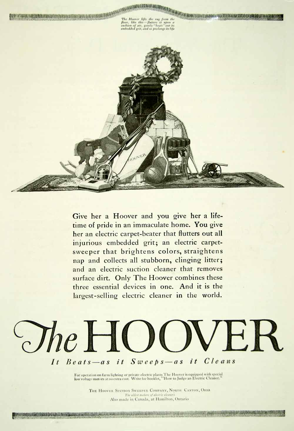 1920 Ad Hoover Vacuum Cleaner Suction Sweeper Rug Housekeeping Electric YDL9