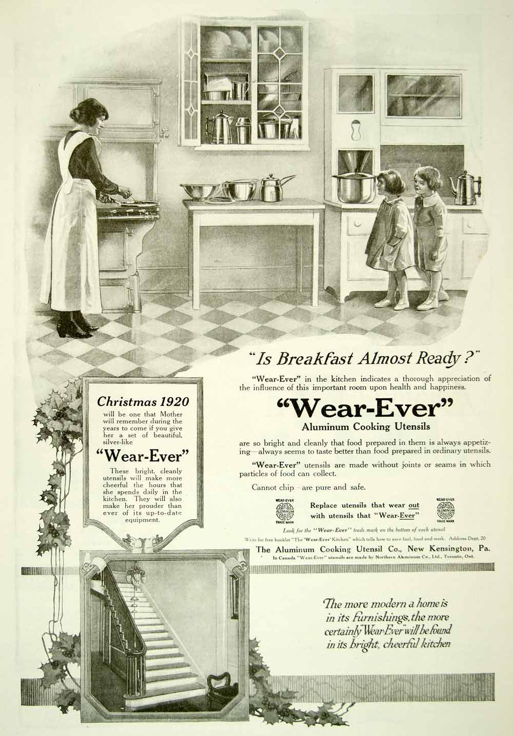 1920 Ad Wear-ever Aluminum Aluminium Cooking Utensils Kitchen Mother YDL9