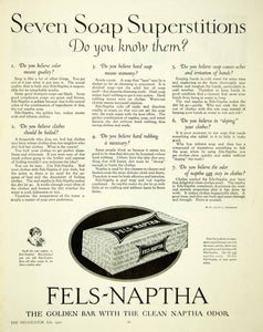 1921 Ad Fels-Naptha Laundry Detergent Soap Washing Hygienic Golden Bar YDL9