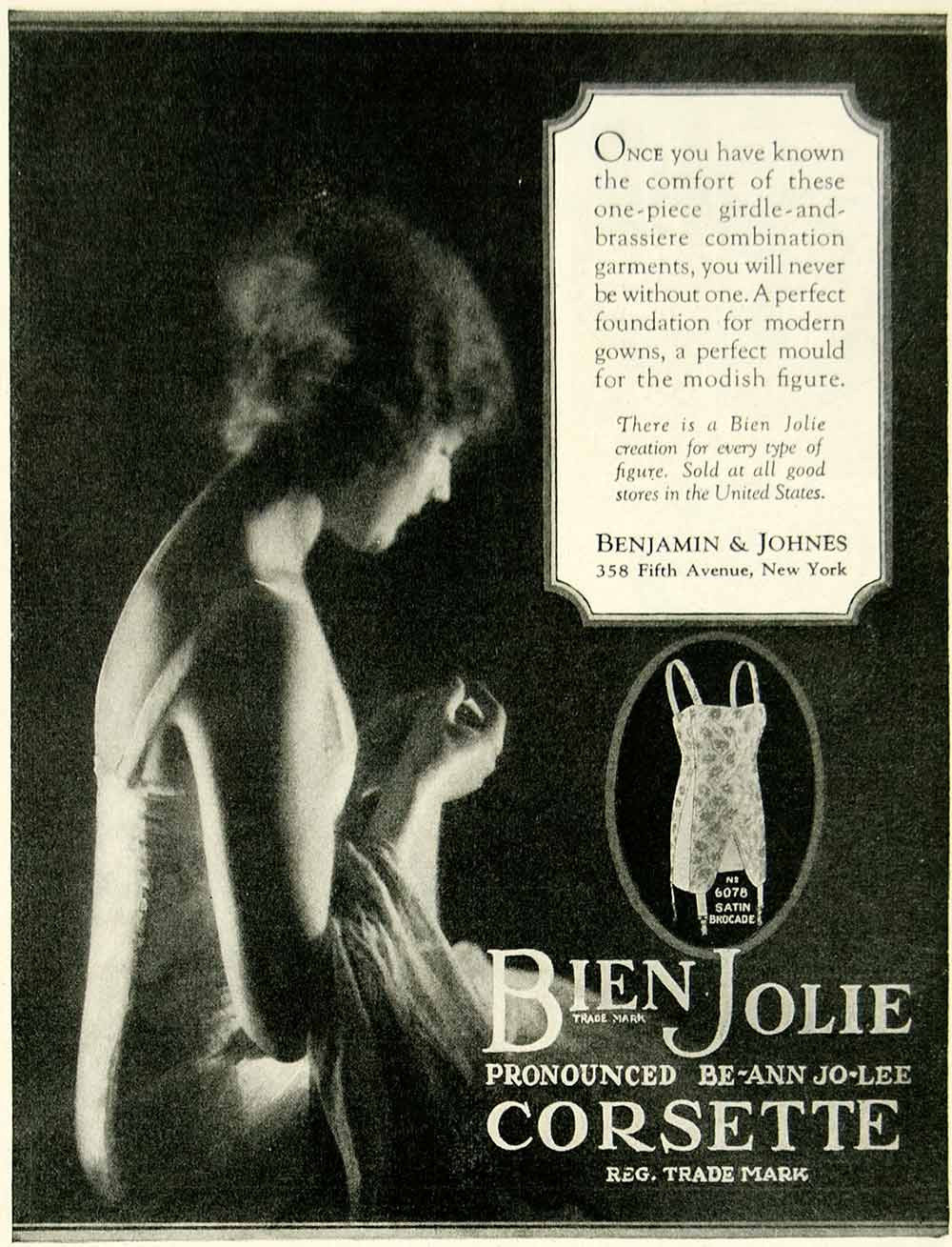 1924 Ad Benjamin & Johnes Bien Jolie Corset 358 Fifth Avenue NYC Womens YDM1
