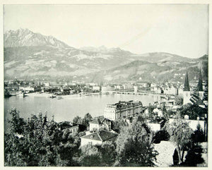 1893 Print Switzerland Lucerne Europe Lake Alps Mountains City Landscape YFC2