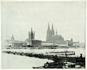 1893 Print Rhine River Cologne Germany Europe Cityscape Gothic Cathedral YFC2