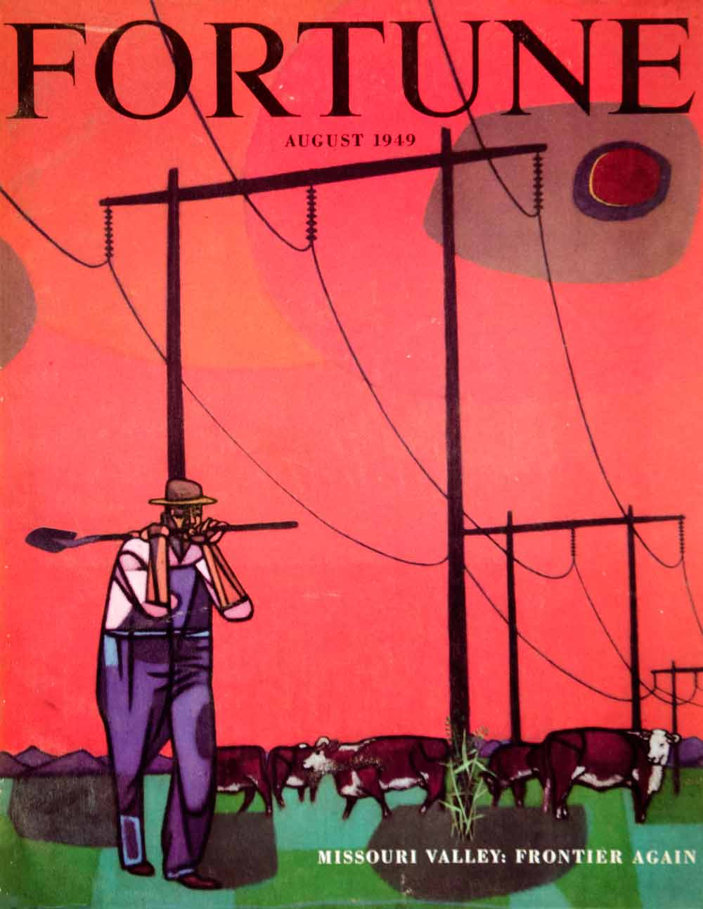 1949 Cover Fortune Robert Gwathmey Art Electric Power Lines Farmer Cow Herd YFC3