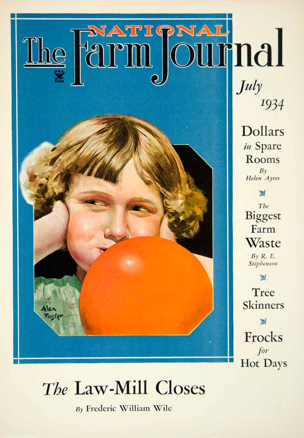 1934 Cover National Farm Journal Art Alan Foster Child Bubble Gum Portrait YFJ1