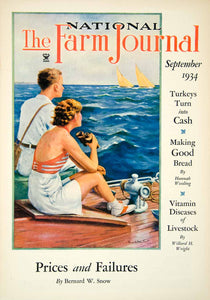 1934 Cover National Farm Journal Art Sailing Ships Ocean Deck Man Woman YFJ1