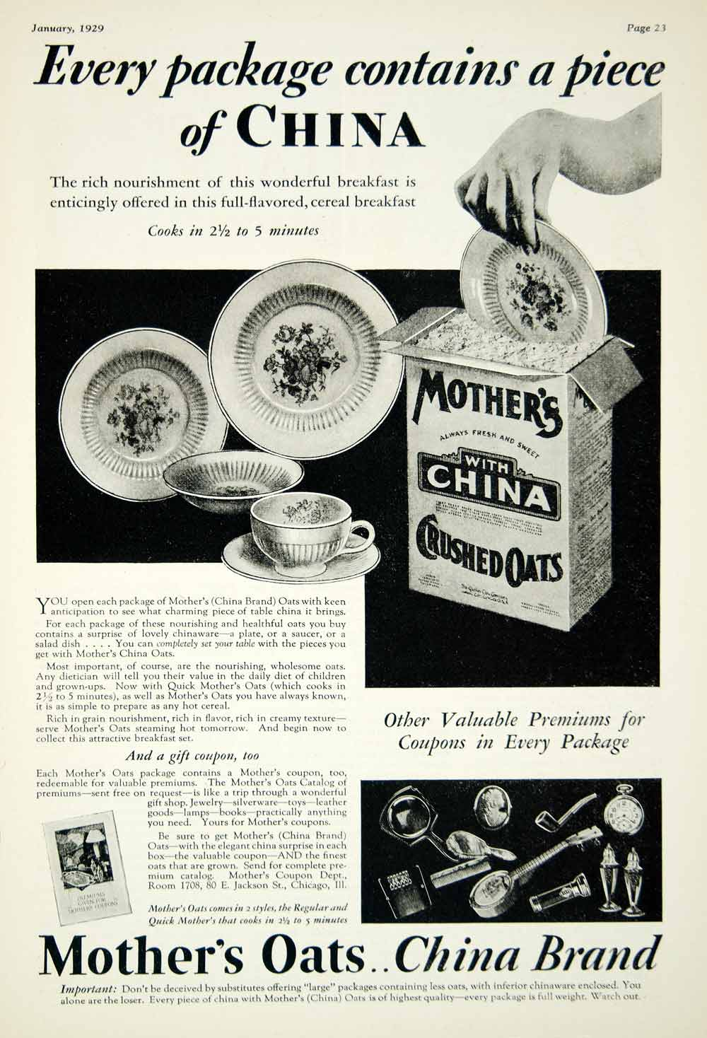 1929 Ad Mothers Crushed Oats Cereal China Plate 80 E Jackson St Chicago YFJ1