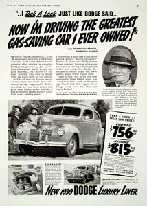 1939 Ad Dodge Luxury Liner 2 Door Coupe Car Henry Susemiehl Luggage YFJ1