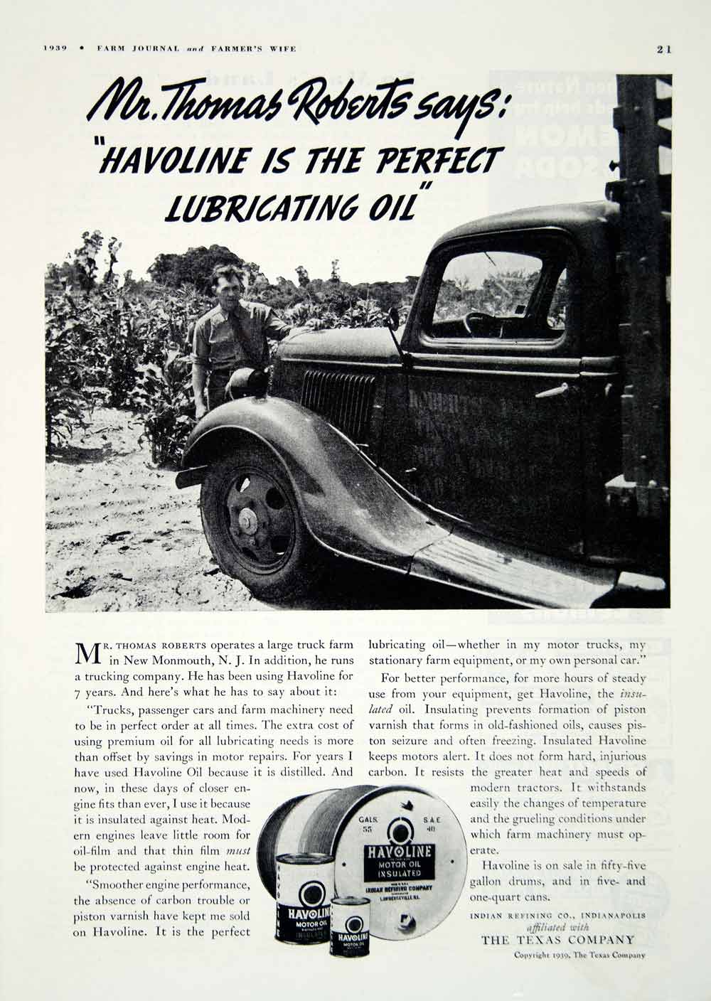 1939 Ad Havoline Insulated Motor Oil Engine Lubricant Thomas Roberts Truck YFJ1