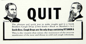 1937 Ad Quit Smith Brothers Cough Drop Throat Lozenge Health Menthol YFJ1