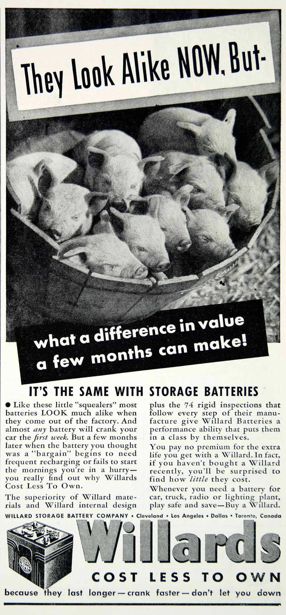 1938 Ad Willard Electric Storage Battery Piglets Livestock Basket Baby YFJ1